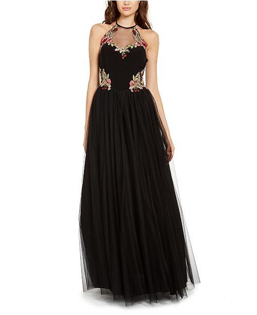 Blondie Nites Juniors' Floral-Appliqué Gown
