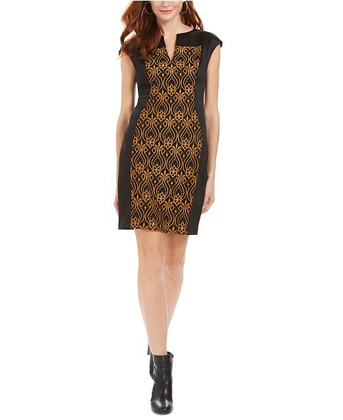 Connected Petite Embroidered Sheath Dress