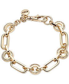 Gold-Tone Pavé Circle & Large Link Bracelet, Created For Macy's