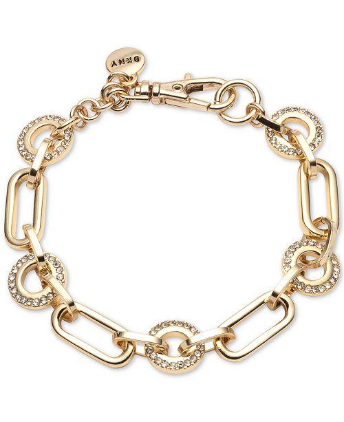 DKNY Gold-Tone Pavé Circle & Large Link Bracelet, Created For Macy's