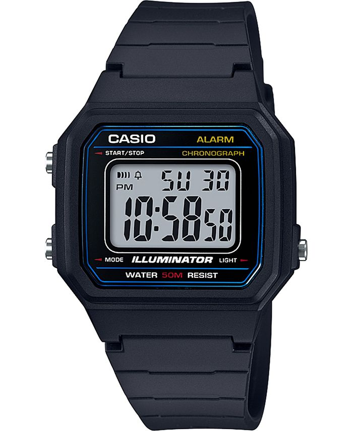 Casio - Unisex Digital Black Resin Strap Watch 41.2mm