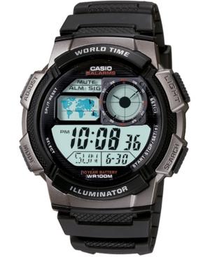 Men's Digital Black Resin Strap Watch 43.7mm