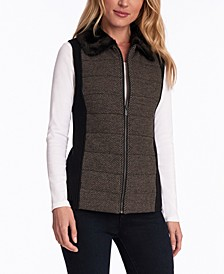 Faux-Fur-Collar Quilted Vest