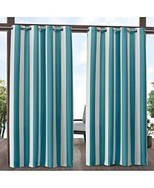 Canopy Stripe Indoor/Outdoor Grommet Top Curtain Panel Pair