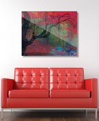 "Sundown Willow Tree on Scarlet Abstract 24"" x 36"" Acrylic Wall Art Print"