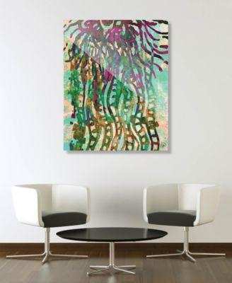 """Psychedelic Jelly Fish in Green Abstract 24"""" x 36"""" Acrylic Wall Art Print"""