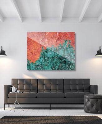 "Splotch Teal Green Rust Abstract 24"" x 36"" Acrylic Wall Art Print"
