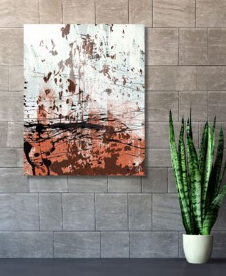 """Rust Speckled Wall in Light Red Abstract 16"""" x 20"""" Acrylic Wall Art Print"""