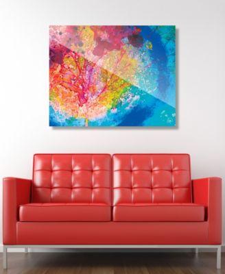 "Vibrant Scarlet Willow Tree Abstract 16"" x 20"" Acrylic Wall Art Print"