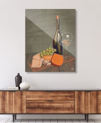 "Wine's Best Friends on Olive Green Illustration 16"" x 20"" Acrylic Wall Art Print"