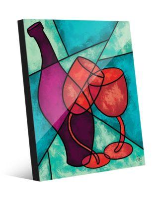 """Dancing Wine Bottle Glasses on Turquoise 20"""" x 24"""" Acrylic Wall Art Print"""