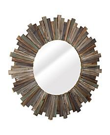American Art Decor Rustic Distressed Wood Round Sunburst Mirror