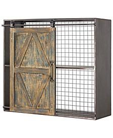 American Art Decor Wood Sliding Barn Door Cabinet Shelf