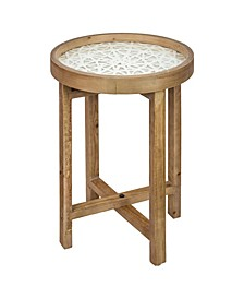 American Art Decor Wooden Side/End Table with Rice Paper Table Top