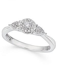 Diamond Halo Engagement Ring (1/6 ct. t.w.) in 10k White Gold