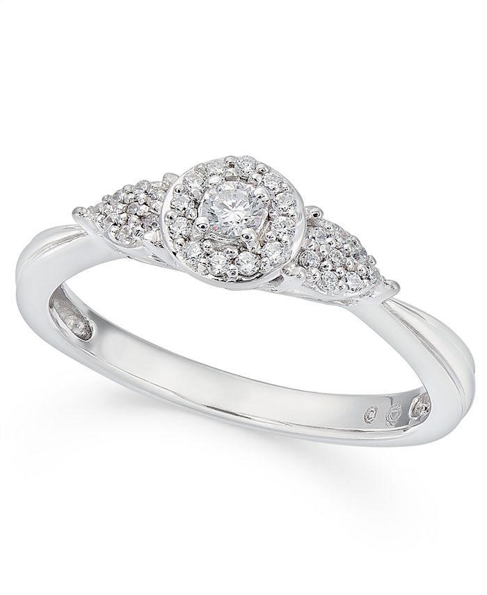 Macy's - Diamond Halo Engagement Ring (1/6 ct. t.w.) in 10k White Gold