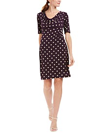 Petite Ruched Polka-Dot Sheath Dress