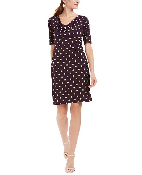 Connected Petite Ruched Polka-Dot Sheath Dress