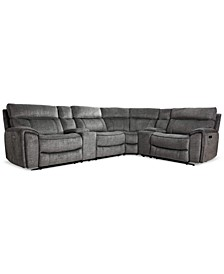 Hutchenson 6-Pc. Fabric Sectional with 2 Power Recliners, Power Headrests and 2 Consoles with USB