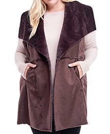 Plus Size Faux-Shearling Sweater Vest
