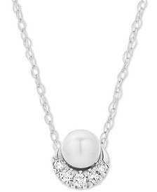 "Diamond Accent & Cultured Freshwater Pearl (8-1/2-9mm) 16"" Pendant Necklace in Sterling Silver"