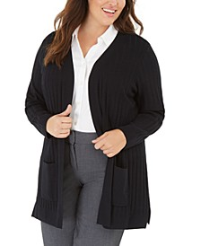Plus Size Wide-Ribbed Cardigan Sweater, Created for Macy's