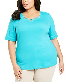 Plus Size Cotton Cutout-Neck T-Shirt, Created for Macy's