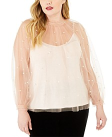 INC Plus Size Embellished Tulle Top, Created For Macy's