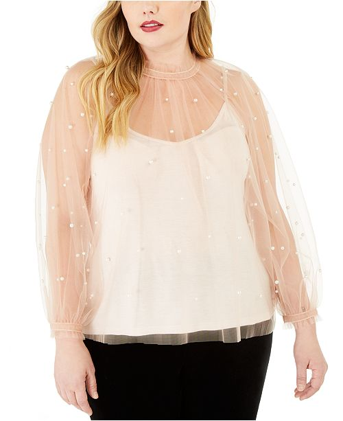INC International Concepts INC Plus Size Embellished Tulle Top, Created For Macy's