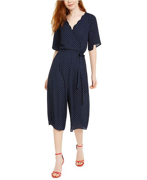 Trixxi Juniors' Scalloped Gaucho Jumpsuit