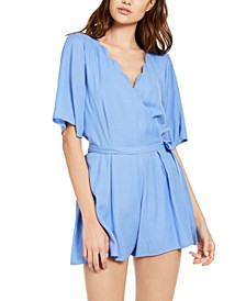 Juniors' Scalloped Wrap Romper