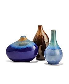 Porcelain Gem Vases Assorted Colors - Set of 3