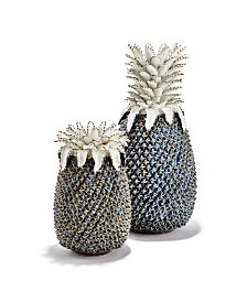 Pineapple White and Blue Sculpture/Vases - Set of 2