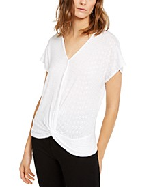 INC Eyelet Twist-Front Top, Created for Macy's
