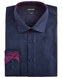 Men's Slim-Fit Wrinkle-Free Performance Stretch Navy Dress Shirt