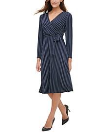 Pinstriped Jersey Tie-Waist Dress