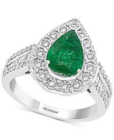 EFFY® Emerald (1-5/8 ct. t.w.) & Diamond (3/8 ct. t.w.) Pear Shaped Ring in 14k White Gold