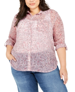 Vince Camuto Tops PLUS SIZE FLORAL PRINT SHEER BUTTON-DOWN SHIRT