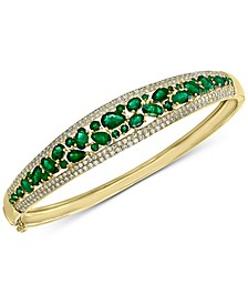 EFFY® Emerald (4-1/3 ct. t.w.) & Diamond (1/5 ct. t.w.) Bangle Bracelet in 14k Gold