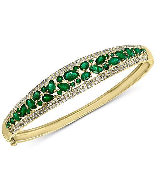 EFFY Collection EFFY® Emerald (4-1/3 ct. t.w.) & Diamond (1/5 ct. t.w.) Bangle Bracelet in 14k Gold