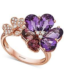 EFFY® Multi-Gemstone (3-7/8 ct. t.w.) & Diamond (1/6 ct. t.w.) Flower Statement Ring in 14k Rose Gold