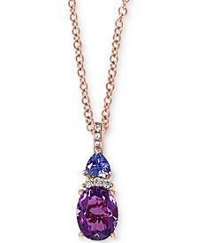 "EFFY® Amethyst (1-7/8 ct. t.w.), Tanzanite (1/4 ct. t.w.) & Diamond (1/20 ct. t.w.) 18"" Pendant Necklace in 14k Rose Gold"
