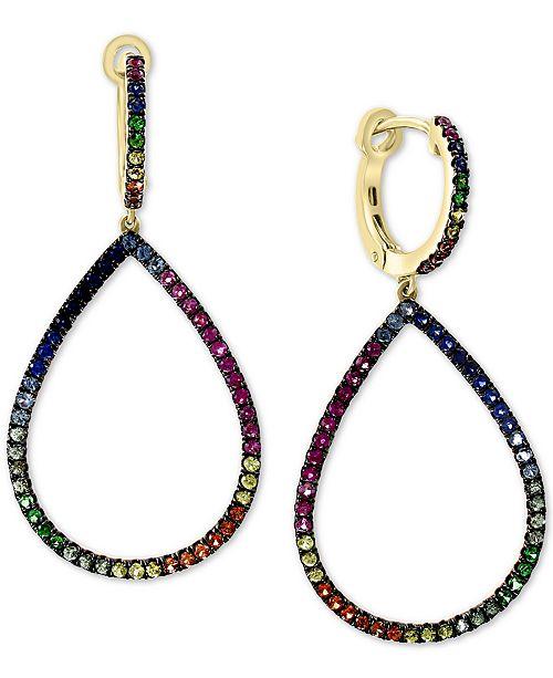 EFFY Collection EFFY® Multi-Sapphire Drop Earrings (7/8 ct. t.w.) in 14k Rose Gold
