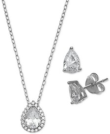 2-Pc. Set Cubic Zirconia Teardrop Pendant Necklace & Stud Earrings in Sterling Silver, Created for Macy's