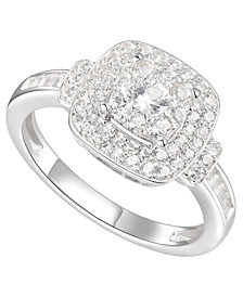 3/4 ct. t.w. Round & Baguette Shape Diamond Ring in 14k White Gold