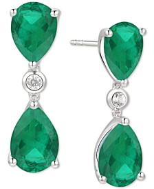 Emerald (6-1/2 ct. t.w.) & Diamond (1/8 ct. t.w.) Drop Earrings in 14k White Gold