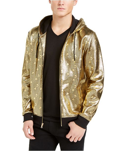 INC International Concepts INC Men's Shiny Skull Hoodie, Created For Macy's