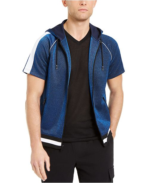INC International Concepts INC Men's Short-Sleeve Sparkle Hoodie, Created For Macy's