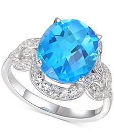 Blue Topaz (5-1/3 ct. t.w.) & Diamond (1/2 ct. t.w.) Ring in 14k White Gold