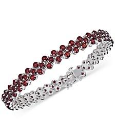 Garnet (15 ct. t.w.) Cluster Tennis Bracelet in Sterling Silver